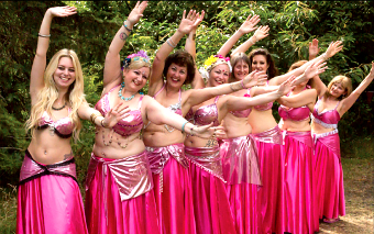 IN THE PINK – the Bellytricks dancers strike a pose