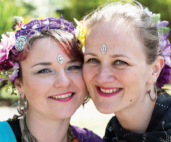 BINDI BUDDIES – Shereen and Angela of Nirzari American Tribal Style Bellydancers entertain the crowds at the party