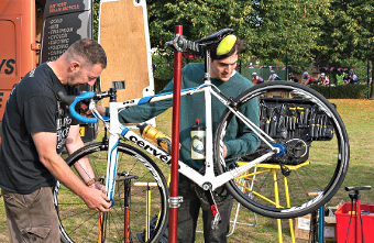FIX-UP JOB – mobile repair stations were used to keep the racers moving over the weekend