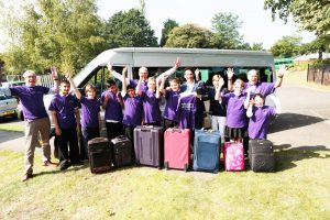 The 8 lucky students who set off for Florida on Sunday morning. With them are Gavin Price (CWSNF Committee member), Paul Walsh, Park School Deputy Head, Jamie Raven (CWSNF Patron) Pauline Way (CWSNF Committee member) and Gordon Parris (CWSNF Founder Trustee)