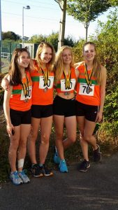 Woking AC bronze medalists: U17 Girls' relay team - Emily Read, Freya Challis, Amy Braid, Amy Brown_Sept2016
