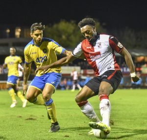 CUP CLINCHER – Woking scorer Gozie Ugwu on the ball against Torquay (picture - David Holmes)