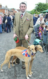 SUITS YOU, SIR - Matt Cobb with his greyhounds sporting Jubilee cravats
