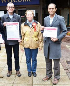 BID – Mohammad Ali (right) with Labour agent Elizabeth Evans and candidate Tom Crisp