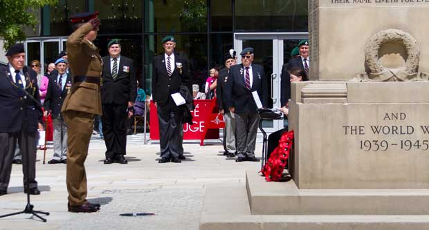 HONOURED - wreaths were laid in the town square