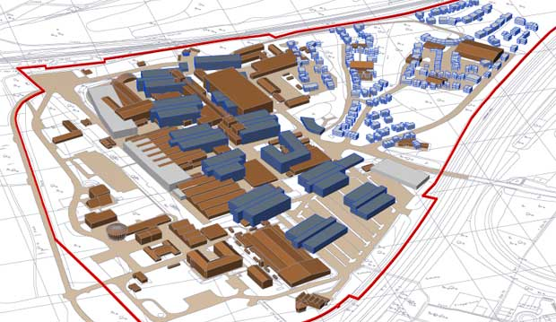PROPOSED DEVELOPMENT – plan of existing buildings at DERA North Site in brown with new builds in blue