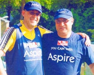 CHARITY RIDE – Peter (right) with Ian