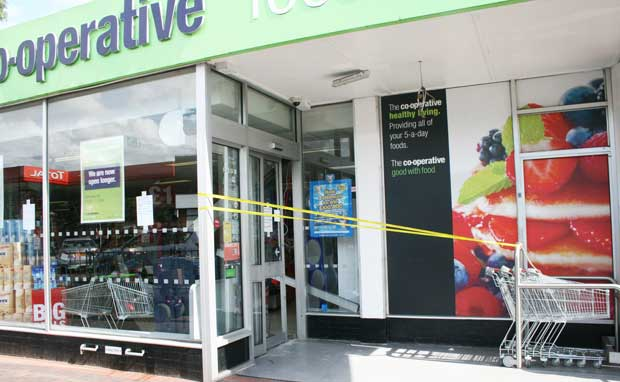 CLOSED – staff were forced to shut the shop to clean up after the robbery