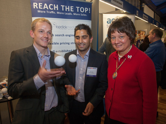 OPEN FOR BUSINESS - Woking mayoress Anne Murray with Jamie Ludlow (left) and Kevin Lopez of West Byfleet-based Top Click Media