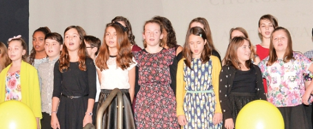 IN VOICE – school choir opened and closed the ceremony; (inset) Fiona Stalker, Best Female Villain in The Fox Fantastic  Pictures by: David Holmes