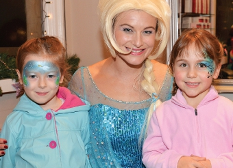 DISNEY PRINCESSES – Abigail Simpson and Milly Hayes with Frozen Princess Elsa at the Velvet Rooms