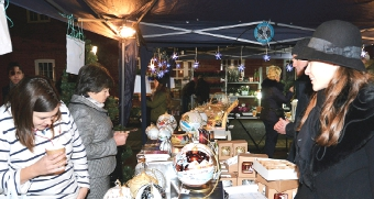 DECKED OUT IN FESTIVE CHEER – the outside market, just off the High Street