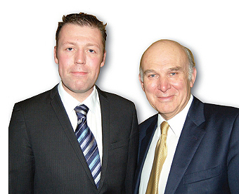 MAKING PROGRESS - Lib Dem spokesman for Woking, Chris Took (left) with the Business Secretary Vince Cable