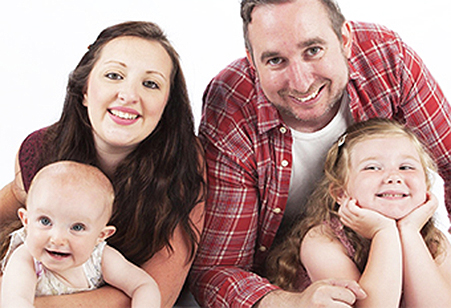 FAMILY FAVOURITES  – Nathalie and John Larcombe with their daughters Sofia, one, and Lola, three