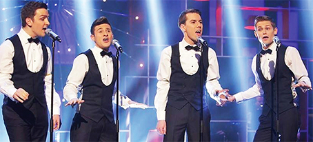 CROONER CLASSIC – the young Rat Pack, Luke Freeney, Danny Gortler, Joseph O'Leary and Phil Glenny singing a capella
