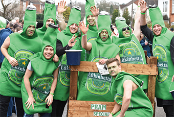 GREEN AND BEER IT – this team kept the booze theme in full flow between pub pitstops (Pictures by: Andrew Lunn)