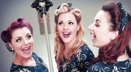 SLIMMING FOR VICTORY – the lovely Three Belles, in their performance personae of Gail, Betty and Dorothy, will be on wartime rations