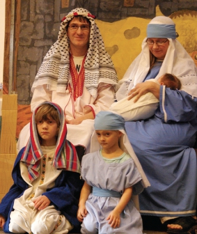 THE TRADITIONAL WAY - Mary and Joseph with the baby Jesus, born in a stable in Bethlehem