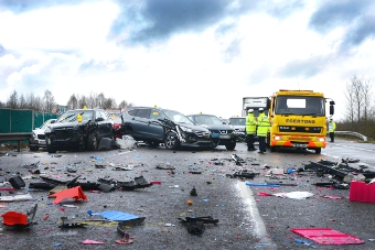 CARNAGE SCENE - one small part of the serious multi-vehicle pile-up last week on the M40