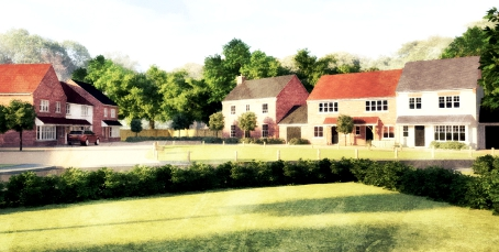 SORRY SITE INDEED – an artist's impression of how just a few of the 95 homes proposed for greenfield land surrounding Malthouse Farm in West End could look if approved