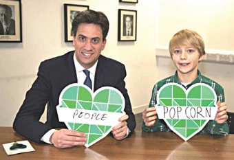 I'M A CHILD, TRUST ME – young Noah Brierley helped to educate Ed Miliband in ecology