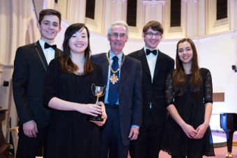 MUSIC MAKERS – Cllr Branagan with the XY Quartet Sam, Amy, Isobel and Alistair