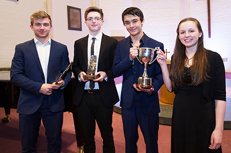 THE GIFTED AND NOTED – second-place Ben Goldsheider; winner Christopher Brewster; and joint third-place Robert Cheung and Madeleine Pickering