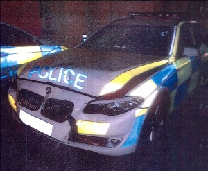 HAZARDOUS PURSUIT – heavy damage was inflicted to the chasing police car