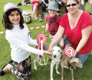 WINNING WHIPPETS – Sarah and Romany Whaley with First Seniors' Class Murphy and Tyler