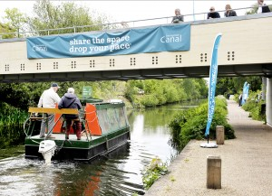 IMPORTANT LANDMARK – Basingstoke Canal Authority last week utilised the bridge to help raise awareness of traffic issues around the famous waterway it crosses