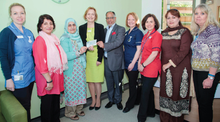 DONATION – Hum Nawa hand over the cheque of £400 to Abbey Birth Centre at St Peter's Hospital