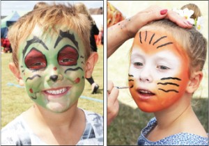 BRAVE THE PAINT – Reece, six, raises an eyebrow, while for seven-year-old Hazel this is her first ever fun day