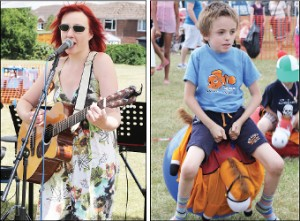 GREAT VOICE – singer and songwriter Anna Neale provides a musical distraction, and  a young lad enjoys healthy competition in the space-hopper race