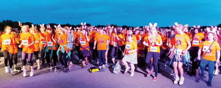 WARM-UP TO WALKING THE GOOD WALK – hundreds joined in the hospices' midnight hike that kicked off and ended at Mercedes-Benz World on Friday night