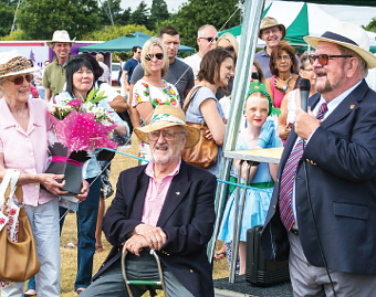ROYAL WELCOME – Woking Mayor and Mayoress with special guests Bernard and Gillian Cribbins and Byfleet Parish Day's Royal Family: Queen Leila Watson, Princess Brooke Madden, Prince Lennon Collins and King Dylan Ungar