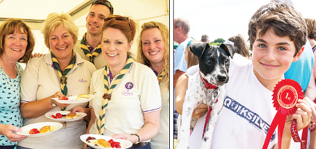 SCOUTS' HONOUR – serving up a treat on the cream teas stand, and Mabel, the Prettiest Bitch, with owner Alfie Silver