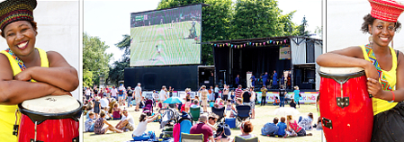 WIMBLEDON WINS IT – Party in the Park was a huge success, not least because it showed the women's tennis final on tap; cheerful Shigisai Mutongwizo (left) and Blessing Mutongwizo were also a hit with their band