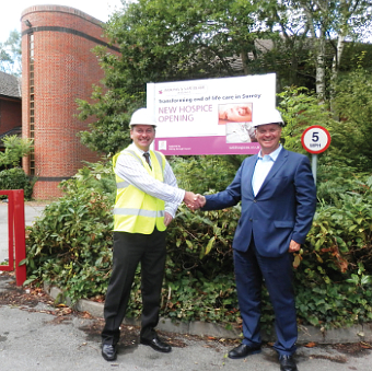 SHAKE ON IT – Project Director Andy Sparks with the hospices' CEO Nigel Harding