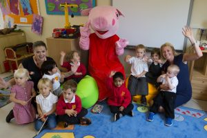 The Nursery class with teacher Sarah Collier (L) and Deputy Head Louise Powell (R)