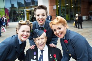 The Three Belles (L to R - Anneka Wass, Isabelle Moore and Sally Anne) with Bill Moore - (no relation to Isabelle)