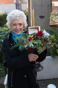 Gloria Wier who makes Christmas Decorations, with examples of her skill.